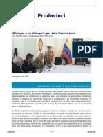 León, LuisVicente; Dialogar o No Dialogar