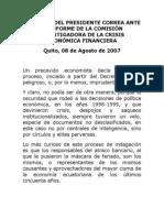 2007-08-08 Discurso Ante El Informe de La Comisión Investigadora de La Crisis Económica Financiera