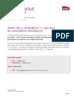 Trafic SNCF des trains circulant entre Nîmes et Narbonne la  journée du 11 Juin 2014