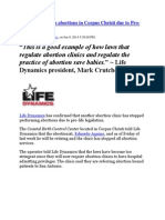Texas Clinic Stops Abortions in Corpus Christi Due to Pro