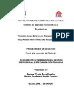 Tesis de La Creación de Una Empresa de Transporte Terrestre de Carga Pesada, Ruta Guayaquil,Lima