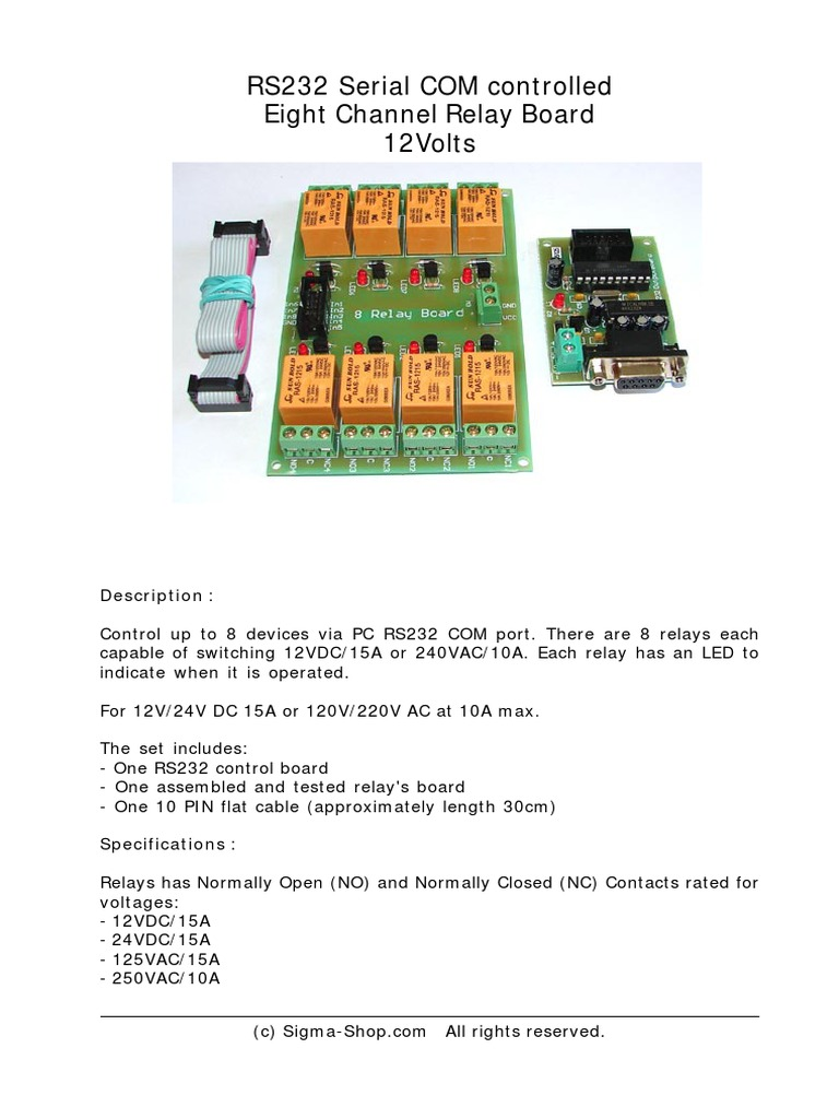 Kmtronic 8 Relay Rs232 Manual Board No Nc