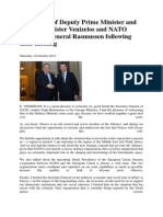 Statements of Deputy Prime Minister and Foreign Minister Venizelos and NATO Secretary General Rasmussen Following Their Meeting