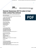 General Awareness GK for Jobs in Coal India Limited Recruitment « MCQ Objective Sample Model Tests for INDIA