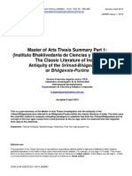 Master of Arts Thesis Summary Part 1