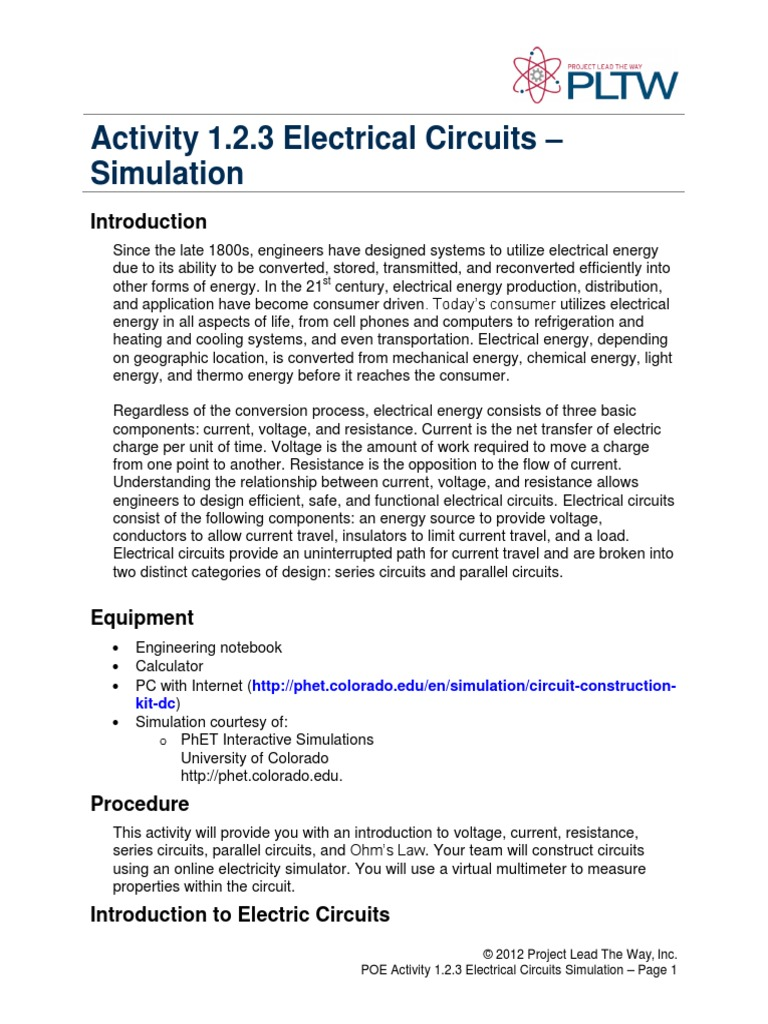 1 2 3 A Sim Electricalcircuits Series And Parallel Circuits Measurements In Electric Current