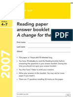 YR9 SATs - Reading Answer Book 2007