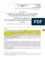 LHUILLIER, D.- Compétences Émotionnelles. de La Proscription a La Prescription
