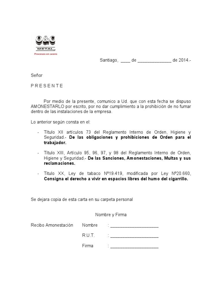 Excepcional Plantilla De Advertencia Escrita Del Empleado Motivo ...