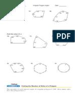 Irregular Interior Angles Worksheet