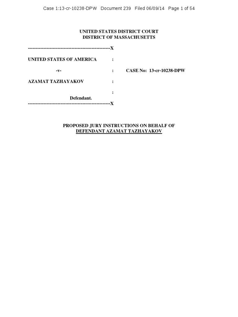 Doc 239 Proposed Jury Instructions On Behalf Of Azamat Tazhayakov