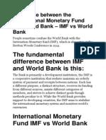 IMF vs World Bank