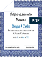 certificate of acheivement for morgan j taylor