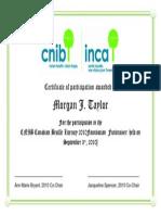 ssw certificate for morgan j taylor from cnib - organization