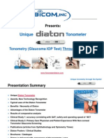 Unique Diaton Tonometer Glaucoma Eye Test THROUGH Eyelid by BiCOM Inc Presentation Tonometry IOP Test