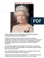 Message from HM the Queen