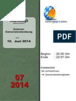 Eslarner Gemeinderatssitzungen - Mitschrift vom 10.06.2014