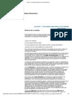 Lección 1. Conceptos Aplicados en La Calidad Alimentaria