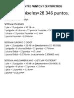 Equivalencia Entre Puntos y Centimetros