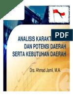 Analisis Karakteristik Dan Potensi Daerah Serta Kebutuhan Daerah