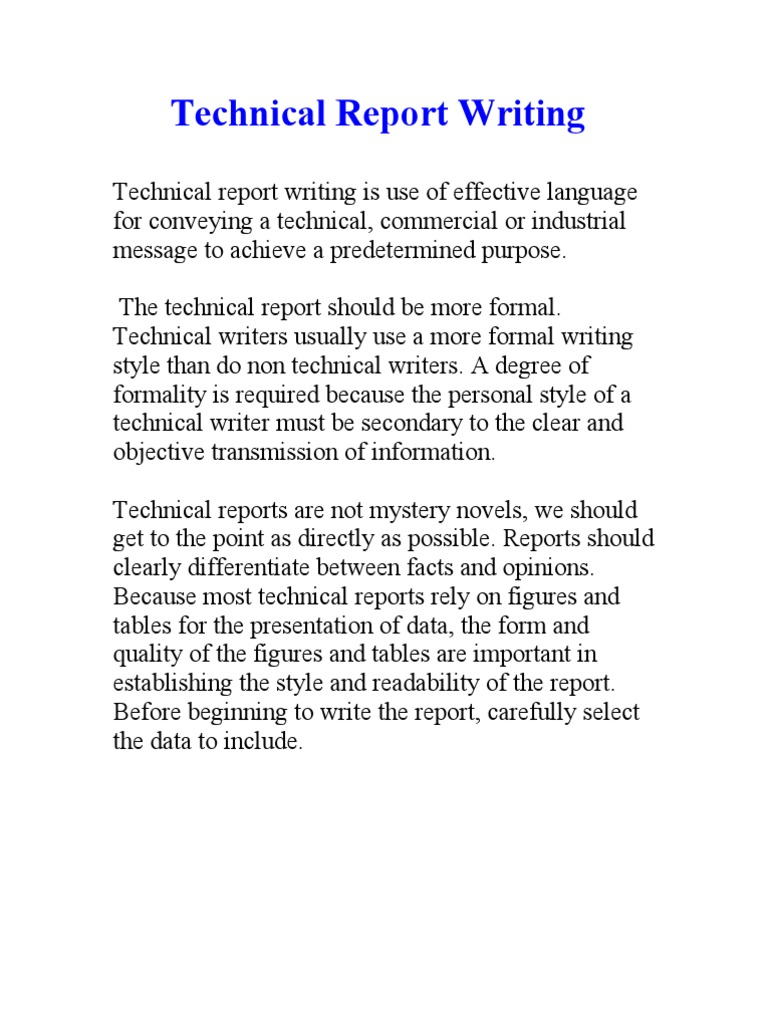 technical reports writing