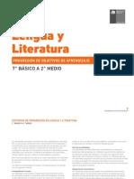 Progresion de OA 7° a 2° - Lengua y Literatura