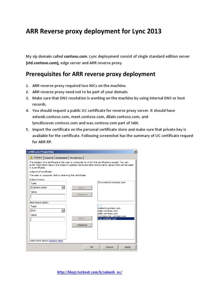 ARR Reverse Proxy Guide for Lync2013   Proxy Server   Internet
