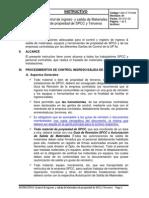 1400-IT-PCISM Control Ingreso y Salida de Materiales de Propiedad de SPCC y Terceros