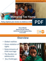 Session 10. Marrying too young; Policy options for actions to address child marriage in Asia