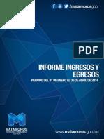Informe de Ingresos y Egresos Abril 2014