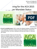 Start Planning for the ACA 2015 Employer Mandate Status