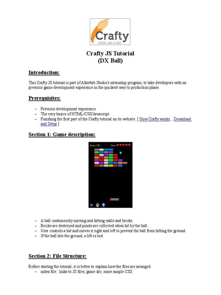 Crafty JS Tutorial (DX Ball - Breakout) | Java Script