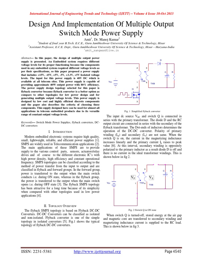 Design And Implementation Of Multiple Output Switch Mode Power Dc Supply Mosfet