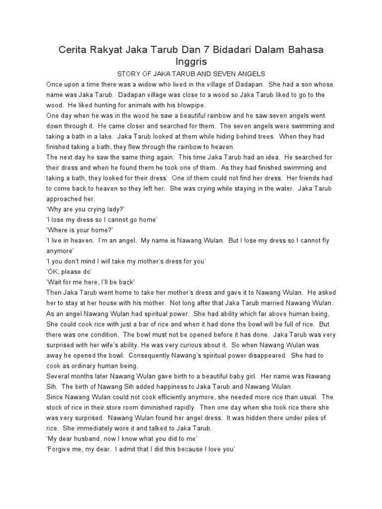 Cerita Rakyat Jaka Tarub Dan 7 Bidadari Dalam Bahasa Inggris Dan