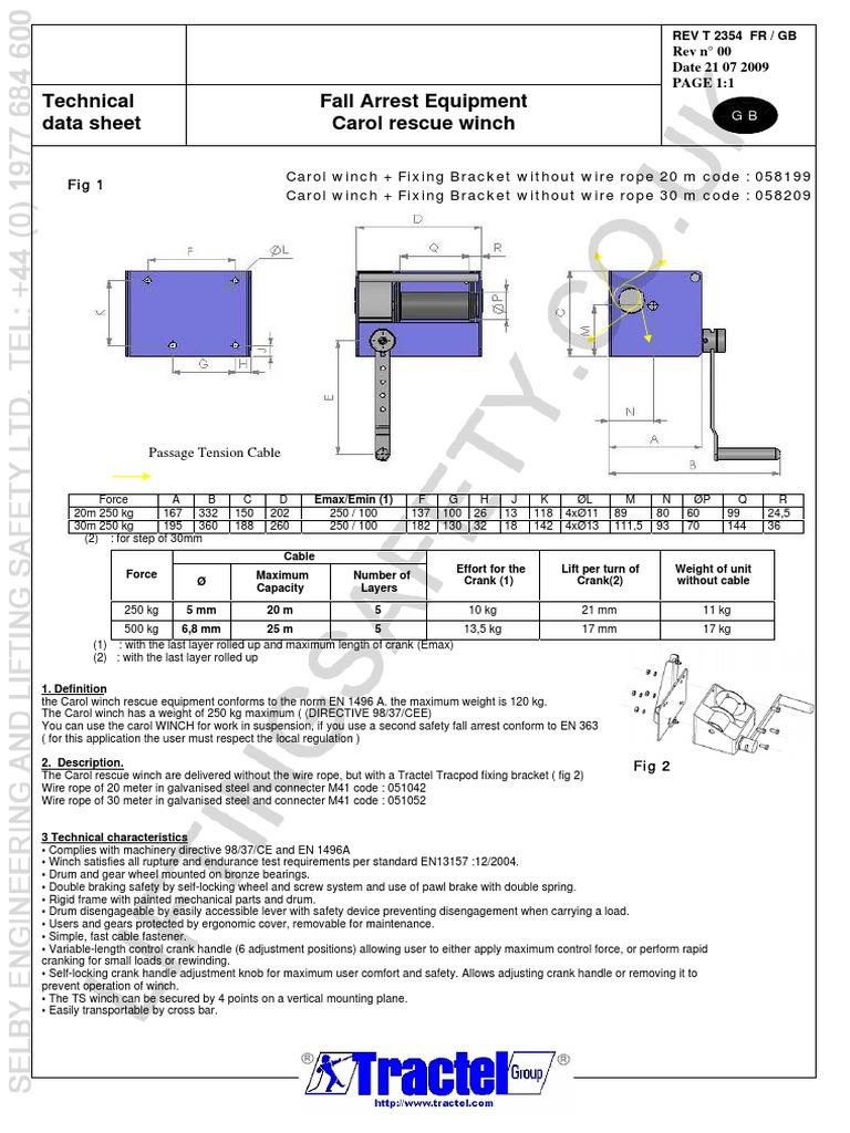 Tractel Carol Rescue Winch Datasheet Watermark Kilogram Rope 2wire Wiring Diagram