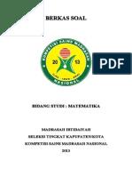 Soal Bidang Studi Matematika Mi Seleksi Tk Kab Kota Kompetisi Sains Madrasah Ksm Nasional 2013