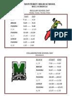 Bell Schedule 2014 - 2015