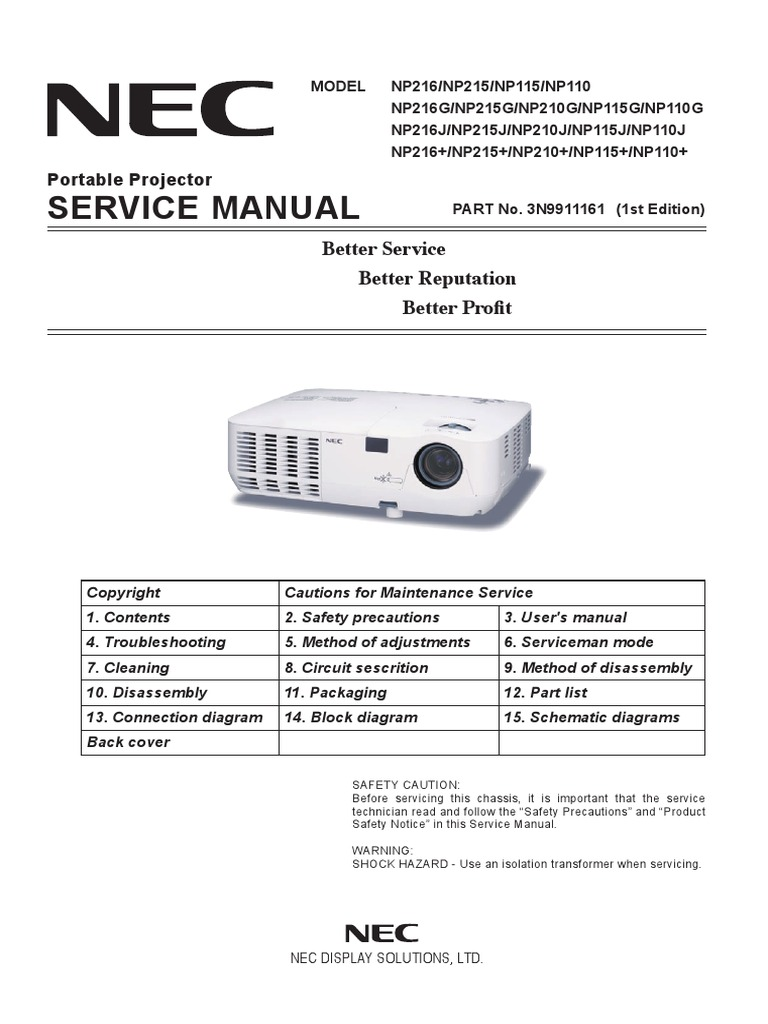 Service Manual NP215s NP216 | Electrical Connector | Electromagnetic  Interference