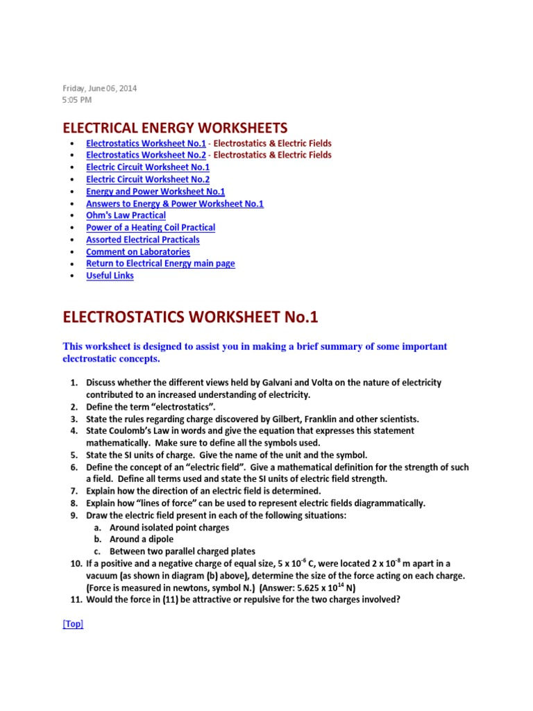 Worksheets Electrostatics Worksheet electrical energy worksheets voltage electric current