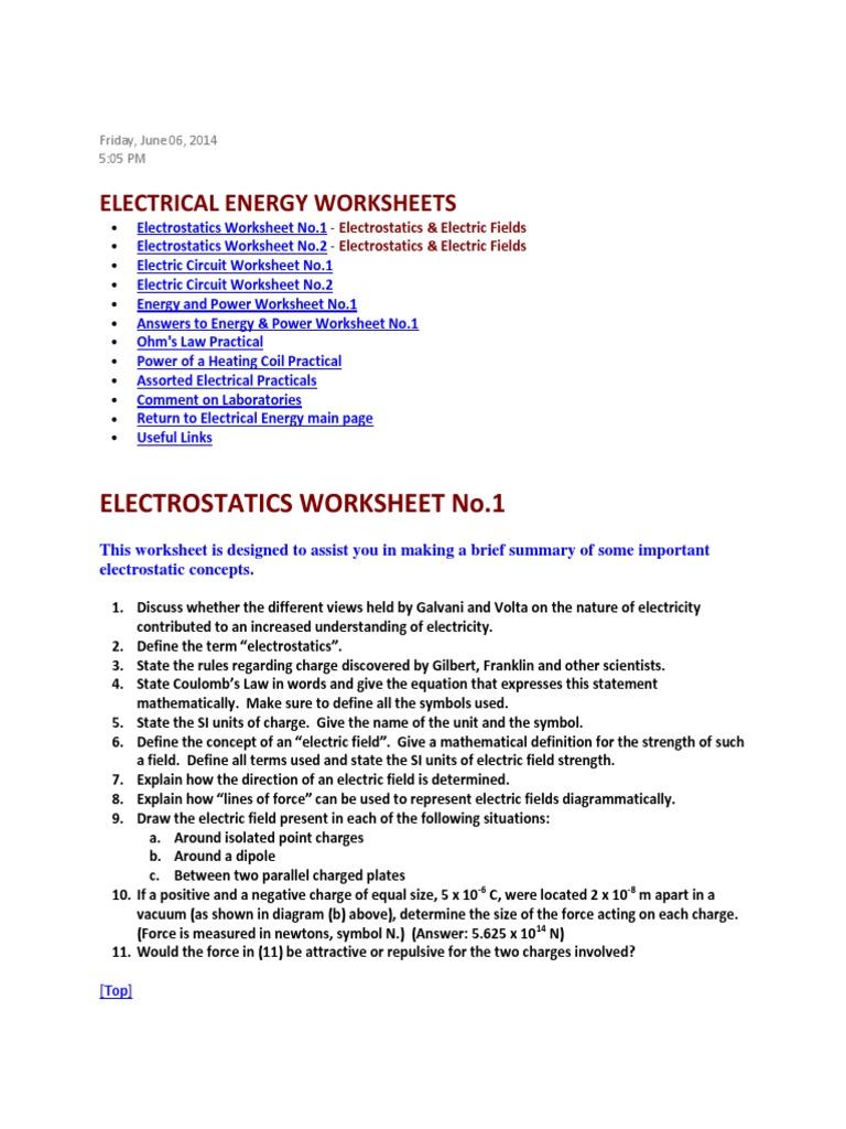 worksheet Electrostatics Worksheet electrical energy worksheets voltage electric current