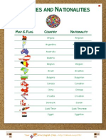 Countries and Nationalities - Vocabulary List