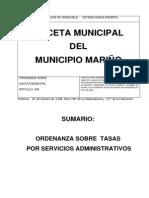 Ordenanza Sobre Tasas Servicios Administrativos Mpio Mariño
