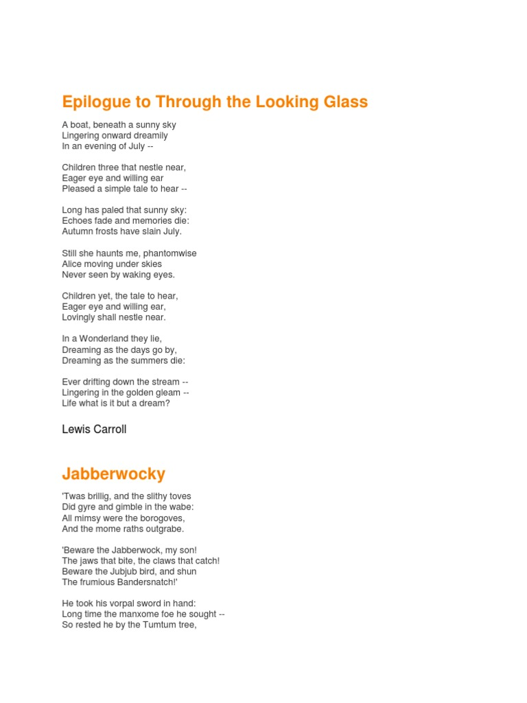 Poems For Storyboard Lewis Carroll Works