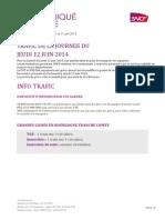 CP N°33 Info trafic du jeudi 12 juin 2014