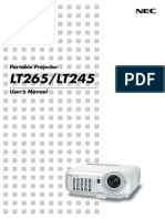 NEC projector Lt265 Manual