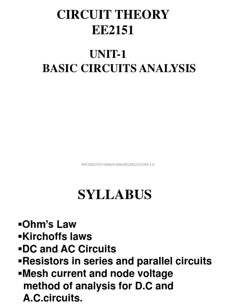 Circuit Theory Ppt Capacitor Series And Parallel Circuits Dc Water Analogy