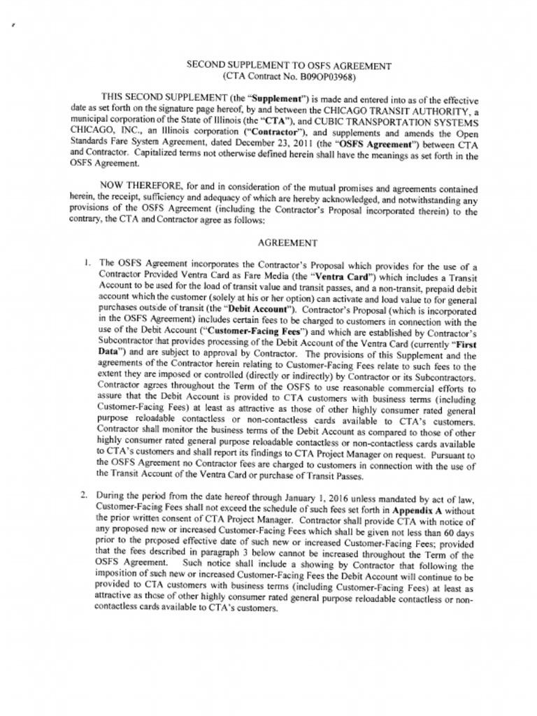 Cta Open Fare Agreement B09op03968 Second Supplement To Osfs Agreement
