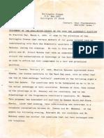 Statement on Ward One - March, 1990