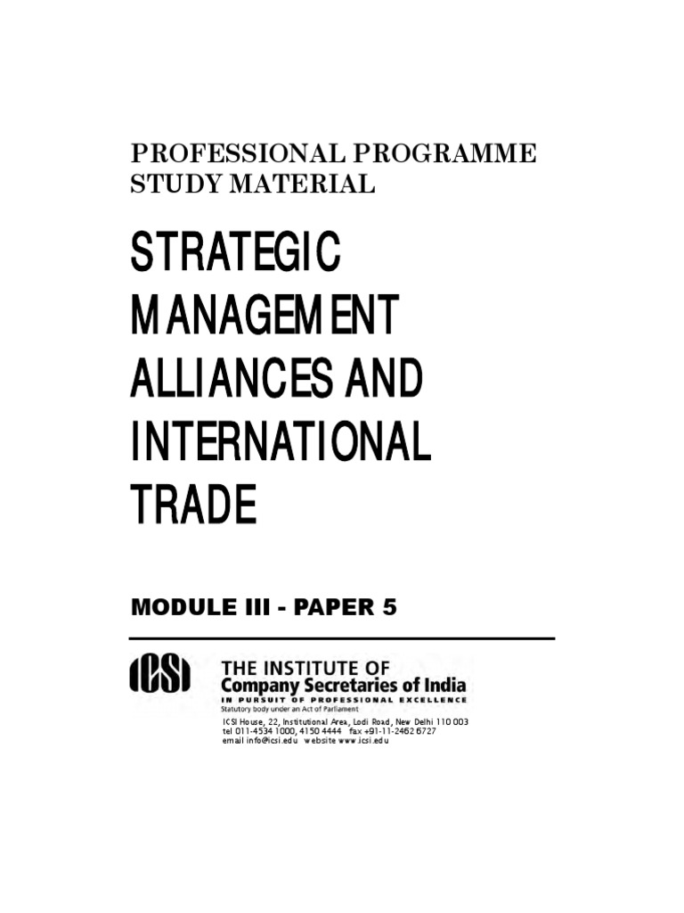 Strategic Management Alliances And International Trade Dumping