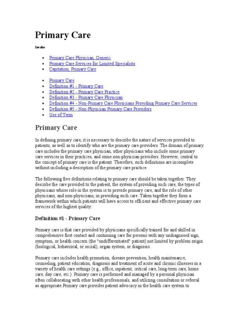 primary care   primary care physician   physician